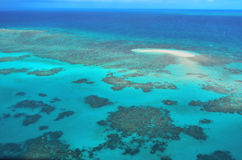Aerial view of Oystaer coral reef at  the Great Barrier Reef Que Royalty Free Stock Photography