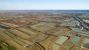 Aerial view of oysters farms in Marennes, Charente Maritime. France royalty free stock photos