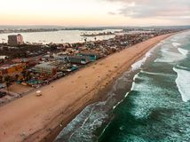 Aerial view of Pacific beach and Mission bay in San Diego stock photography