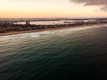 Aerial view of Pacific beach and Mission bay in San Diego royalty free stock photo