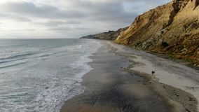 Aerial view of Black Beach, Torrey Pines. California. USA stock video footage