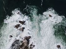 Aerial View of Pacific Ocean and Rocky Coast in California Royalty Free Stock Images