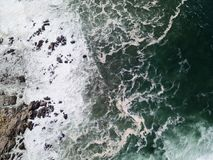 Aerial View of Pacific Ocean and Rocky Coast Royalty Free Stock Photos