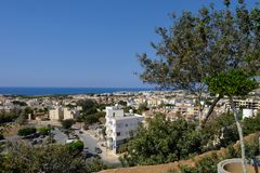 Aerial view of Pafos on a bright blue sky day. Taken from the Muze restaurant Stock Photography