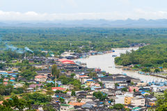 Aerial view of Paknam Chumphon and Tha Taphao river royalty free stock images