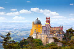 Aerial view of Palácio da Pena - Sintra, Lisboa, Portugal. Aerial view of Palácio da Pena - Sintra, Lisboa, Portugal - European travel, Horizontal royalty free stock photo