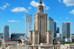 Aerial view Palace of Culture and Science Royalty Free Stock Photos