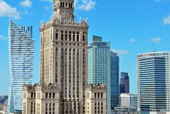 Aerial view Palace of Culture and Science Royalty Free Stock Photo