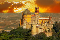 Aerial view of Palace da Pena. Sintra, Lisbon. Portugal. European travel Stock Images