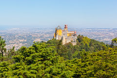 Aerial view of Palace da Pena Royalty Free Stock Image