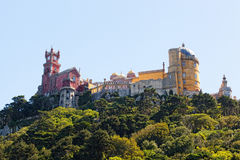 Aerial view of Palace da Pena. Royalty Free Stock Photos