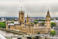 Aerial View of the Palace of Westminster, Houses of Parliament,. London, UK Royalty Free Stock Photo