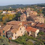 Aerial view of Palaia village Stock Image