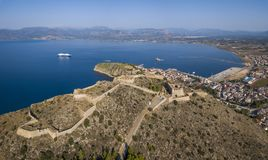 Aerial view of Palamidi fortress in Nafplio stock photography