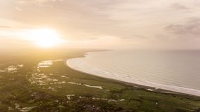 Aerial view of Palangpang beach on sunset time Stock Photo