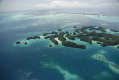 Aerial view of Palau's famous Seventy Islands Royalty Free Stock Photography