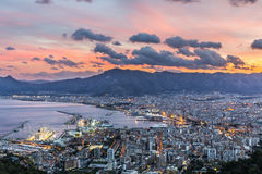 Aerial view of Palermo at sunset, Italy. Beautiful evening view of Palermo. Sicily. Italy Royalty Free Stock Photography
