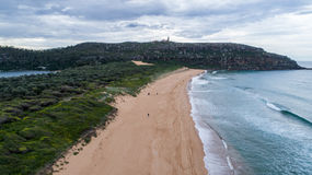 Aerial view of Palm Beach headland with lighthouse Sydney Australia Stock Image
