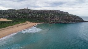 Aerial view of Palm Beach, Sydney Australia with lighthouse atop headland Royalty Free Stock Photo