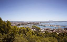 Aerial view of Palma de Mallorca city. From a castle called Castell de Bellver Stock Images