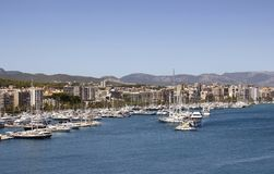 Aerial view of Palma De Mallorca city. And marina. It is a resort city and capital of the Spanish island of Majorca in the western Mediterranean Royalty Free Stock Photography