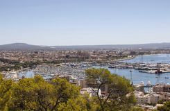 Aerial view of Palma de Mallorca city. From a castle called Castell de Bellver Stock Photography