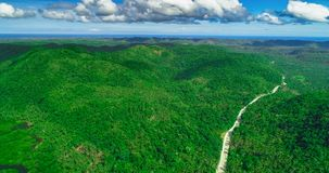 Aerial view of palms forest, road and mountain on the Siargao island. Philippines.  stock image