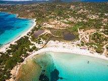 Aerial  view  of Palombaggia beach in Corsica Island in France Royalty Free Stock Photography