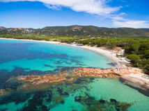 Aerial view of Palombaggia beach in Corsica Island in France Stock Image