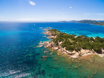 Aerial  view  of Palombaggia beach in Corsica Island in France Royalty Free Stock Photos