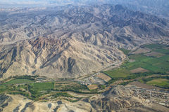 Aerial view of Pampas de Jumana near Nazca, Peru. Stock Photos