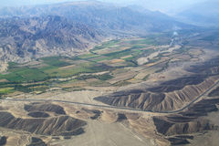 Aerial view of Pampas de Jumana near Nazca, Peru. Royalty Free Stock Photos
