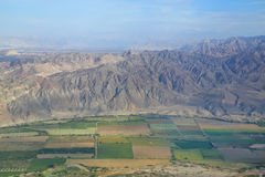 Aerial view of Pampas de Jumana near Nazca, Peru. Royalty Free Stock Photo