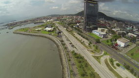 Aerial view of Panama City in the daytime in Panama stock footage