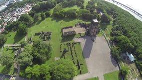 Aerial view of Panama Viejo Ruins, Panama City, Panama stock video footage
