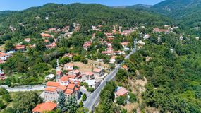 Aerial Pano Platres village, Limassol, Cyprus royalty free stock images