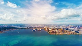 Aerial view panorama from drone. Ship in import/export business Stock Images