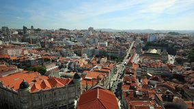 Porto aerial view. Aerial view panorama of historic city center of Porto in Portugal from Clerigos Tower, one of the landmarks and symbols of Oporto. Urban stock video