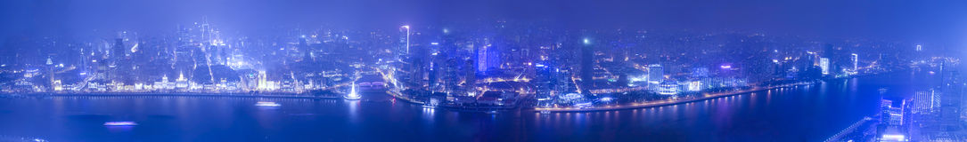Aerial view of panorama at night Shanghai bund Royalty Free Stock Photos