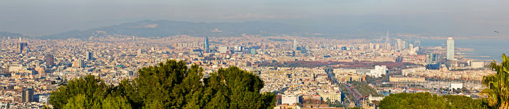 Aerial View Panorama Over Barcelona Royalty Free Stock Photography