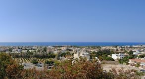 Panoramic view of Pafos. Aerial view of a panorama of Pafos taken from a high vantage point Stock Image