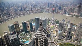 Aerial View, Panorama of Shanghai Skyline in China Royalty Free Stock Photos