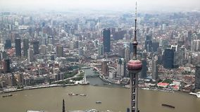 Aerial View, Panorama of Shanghai Skyline in China stock video footage
