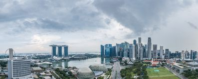 Aerial view panorama of Singapore during cloudy day stock photos