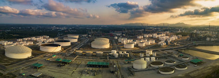 Aerial view panorama view of oil refinery storage tank in heavy Stock Image