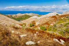 Aerial view from Pantokrator mountain foothill to Albania mounta Royalty Free Stock Photography