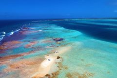Caribbean sea, Los Roques. Vacation in the blue sea and deserted islands. Peace. stock images