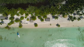 Aerial view of Paradise tropical island beach. Beachfront Punta Cana. stock video