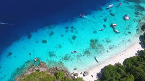 Aerial View on Paradise Tropical Island Beach with Clear Blue Water at Similan Island. HD. Andaman Sea, Thailand. stock video footage