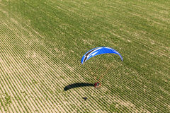 Aerial view of paramotor flying over the fields Stock Photography